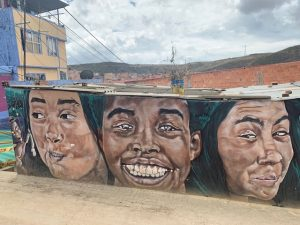 Mural with three faces